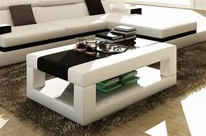 Table Basse Cuir : table basse en cuir italien wagram blanc et noir mobilier priv ~ Teatrodelosmanantiales.com Idées de Décoration