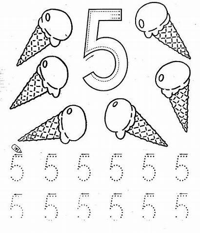 Number Worksheets Tracing Coloring Five Printable Kindergarten