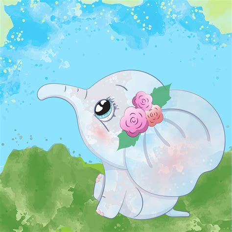 Pin the clipart you like. Cute baby elephant - Download Free Vectors, Clipart ...