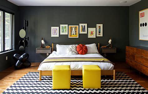 chambre retro chambre deco vintage gris jaune