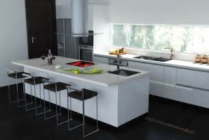white kitchen island with top black white interiors