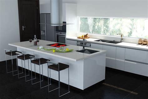 comptoir de cuisine quartz ou granit black white interiors