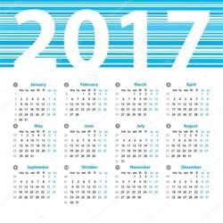 2017 Calendar Template with Week Numbers