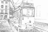 Coloring Tram Adult Lisbon Urban Colouring Outdoors sketch template