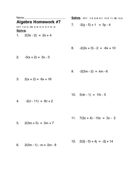 solving twelve multi step linear equations worksheet for 10th 12th grade lesson planet