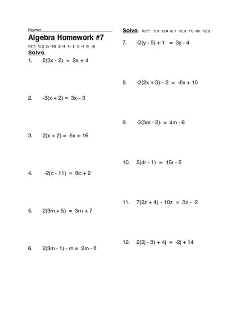 multi step linear equations worksheet 7th grade math worksheets linear equations math