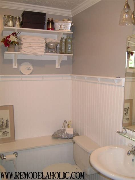 bathroom with wainscoting ideas beadboard wainscoting with ledge remodelaholic do it