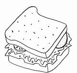 Sandwich Coloring Colouring Clipart Picnic Popular Webstockreview sketch template