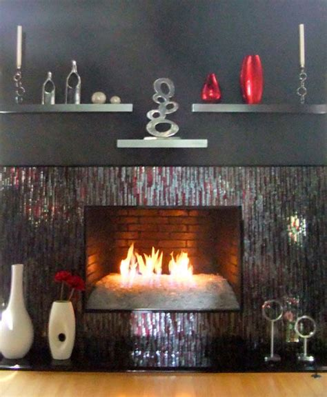 mosaic fireplace surround  red silver bamboo