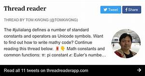 Thread By  Tomkwong  The  Julialang Defines A Number Of