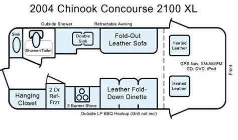 chinook concourse rv floor plans chinook mini rv floor plan stuff i want