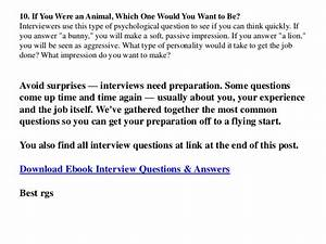 Typical job interview questions and sample answers