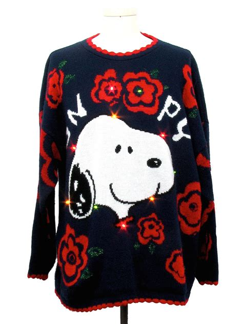 snoopy sweater 1980 39 s multicolor lightup vintage sweater