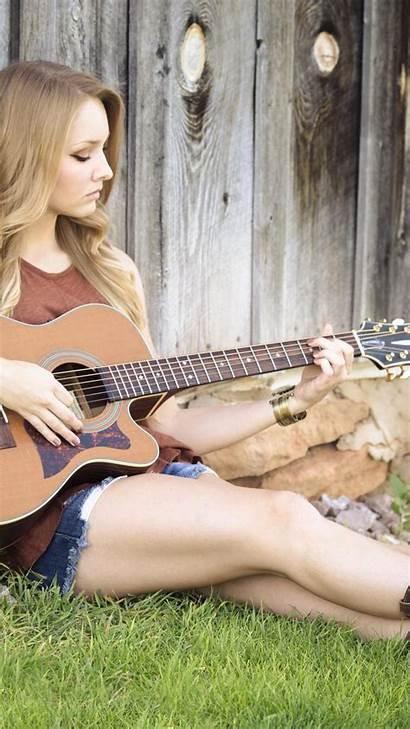 Blonde Playing Guitar Woman 5k Wallpapers