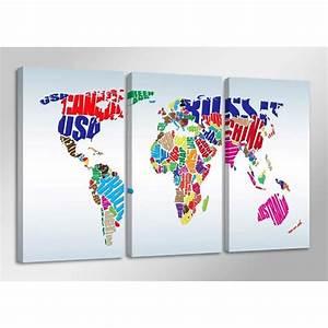 Tableau Du Monde : tableau moderne imprim 160x90 cm carte monde achat vente tableau toile toile bois ~ Teatrodelosmanantiales.com Idées de Décoration