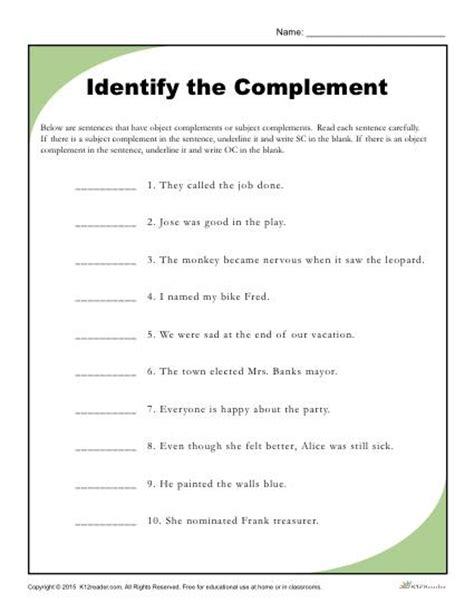 subject complements worksheet photos leafsea