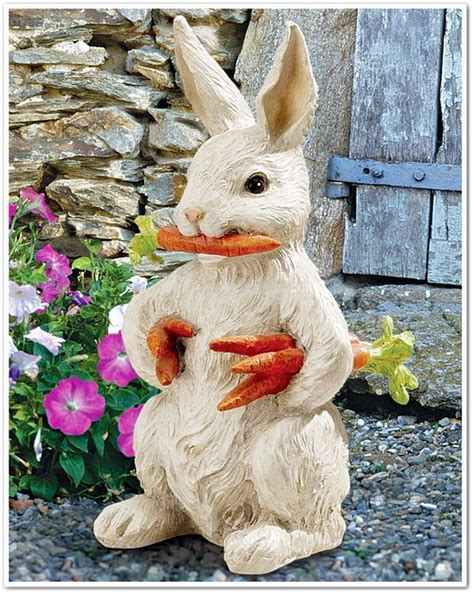 bunny rabbit carrot statue garden statuary yard art