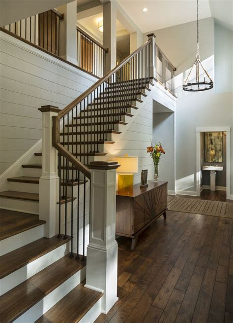 living room small and wooden staircases brick wall design entryway with rustic wood floors l shaped stairway