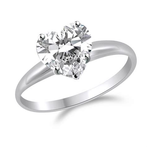 2 ct heart shape solitaire engagement wedding promise ring