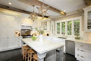 Kitchen with beadboard ceiling cottage