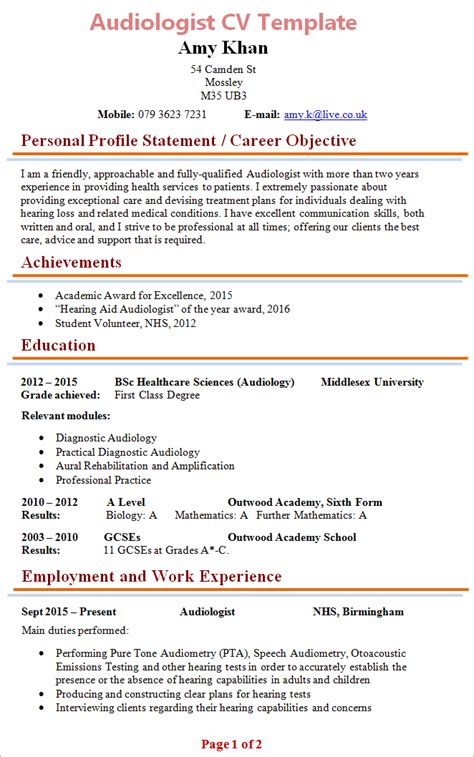 audiologist cv template