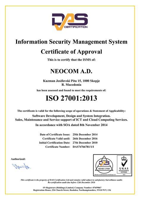 Iso 27001 Version 2013 Resumen by Certifications Memberships Neocloud
