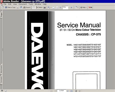 Daewoo Tv Chassis Cp-375 20a5 Service Manual