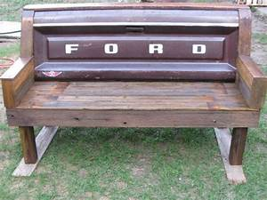rustic handmade handcrafted old ford tailgate bench With benches made from old barn wood