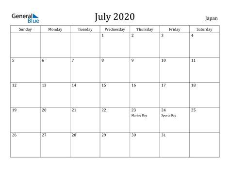 july  calendar japan
