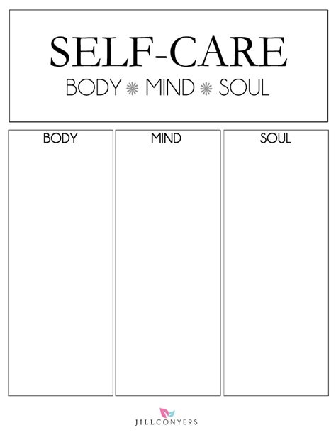 Self Care Plan Template by Ideas To Include In A Self Care Routine Conyers