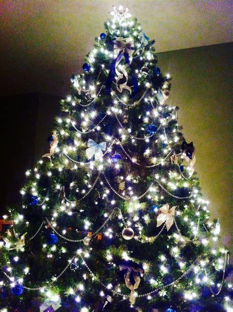blue and silver christmas tree christmas pinterest