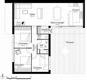 plan maison en l toit plat ooreka With maison toit plat en l 1 maison en kit toit plat