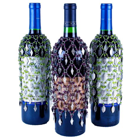 wine bottle l vineyard collection of 3 beaded wine bottle covers grapes