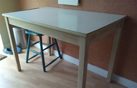 vintage retro white formica kitchen dining table beech