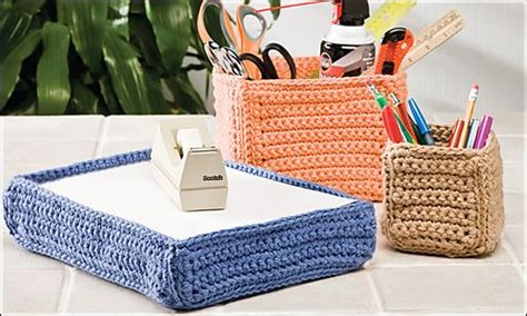 christmas gufts for desk mates desk mates by marty miller crocheted organizers for your office crochet inspiration