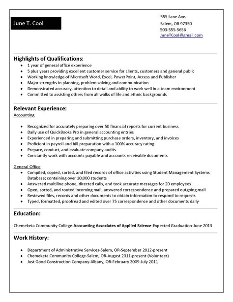 Internship Resume Builder by For 5 Years Experience In Accounting Resume Builder