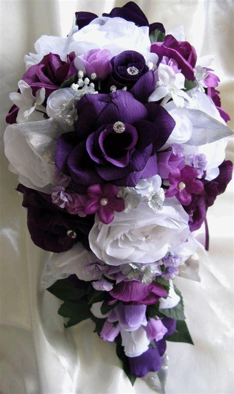 pcs wedding bouquet bridal silk flowers plum purple