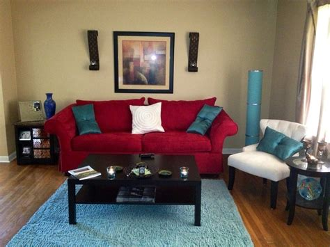 my living room red aqua and ivory