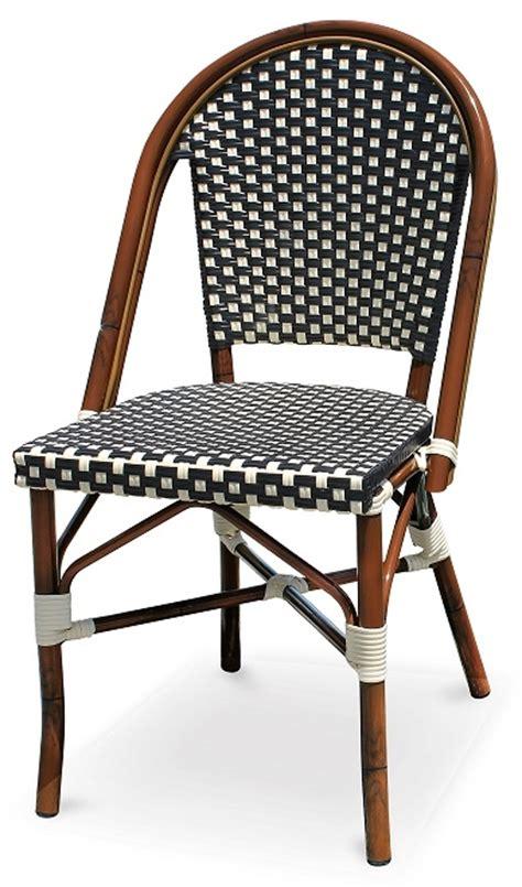 black white rattan bistro aluminum chairs
