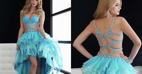 Cute Blue High-low Prom Dresses