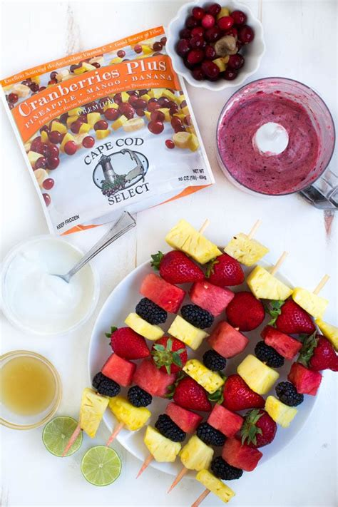Grilled Fruit Kabobs With Tropical Cranberry Fruit Dip