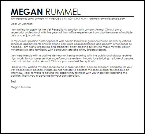 Exle Of Cover Letter For Receptionist Position by Vet Receptionist Cover Letter Sle Cover Letter