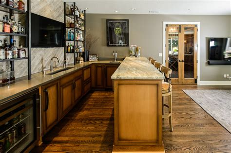 The Ultimate Man Cave  Traditional  Home Bar Portland