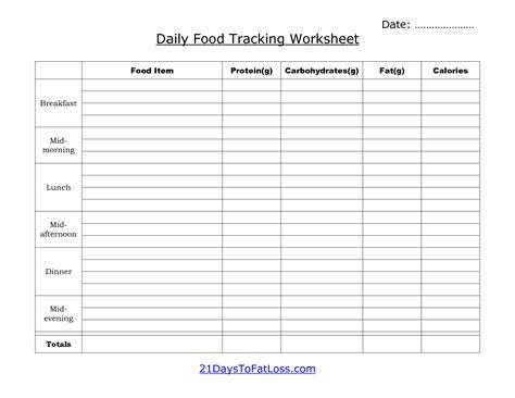 printables meal tracking worksheet lemonlilyfestival