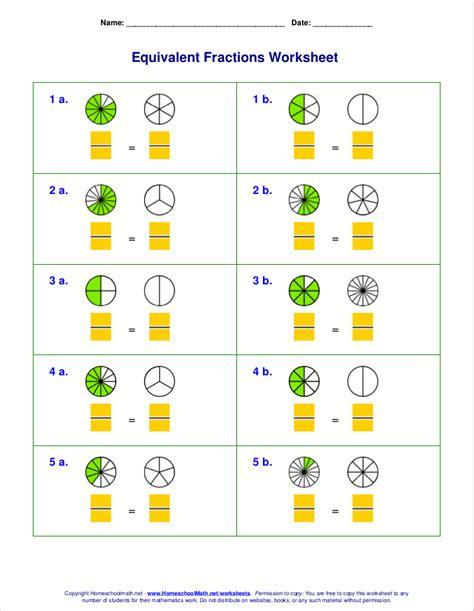 math worksheets fraction equivalents