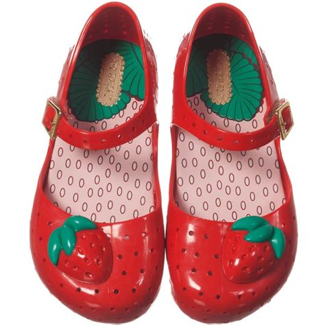 mini melissa red jelly shoes  strawberry children