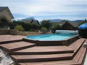 les 25 meilleures idees concernant piscine semi enterree With exceptional amenagement jardin autour piscine 5 une cascade dans votre piscine