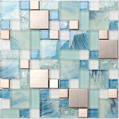 blue glass tile kitchen backsplash crackle glass backsplash tile 304 stainless steel metal