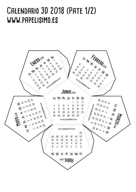 calendario imprimir dodecaedro de papel