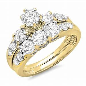 200 carat ctw 14k gold round diamond ladies 3 stone for Ladies diamond wedding ring sets